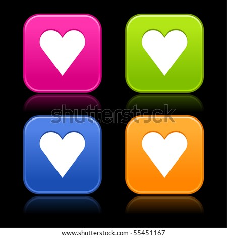 Colorful matted rounded shapes with reflection on black background. Heart sign on web 2.0 internet buttons