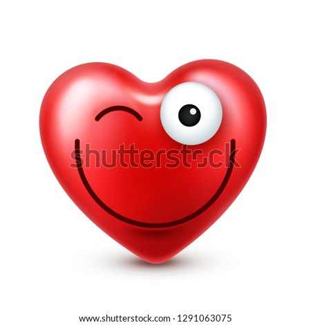 Heart smiley emoji vector for Valentines Day. Funny red face with expressions and emotions. Love symbol. #1291063075