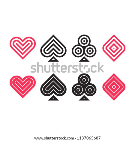 Heart, spade, club and diamond. Playing card suit icons in modern geometric minimal style. Vector cards symbols set.