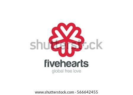 heart star flower logo design