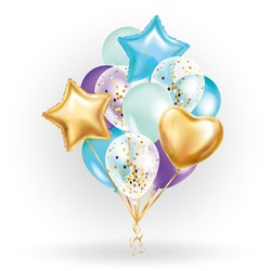 Heart star Gold balloon Bouquet. Frosted party balloons event design. Balloons isolated in the air. Party decorations wedding, birthday, celebration, love, valentines, kids. Color transparent balloon