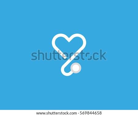 Heart stethoscope vector logotype. Linear medical logo design.