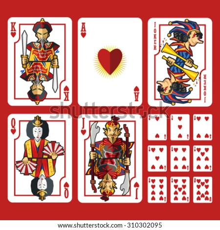 Heart Suit Playing Cards Full Set, include King Queen Jack and Ace