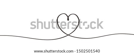 Heart symbol continuous one line drawing single lineart hand drawn sketch contour design. Simplicity of romantic sign vector illustration isolated on white background.