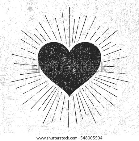 Heart symbol with sunburst on grunge background