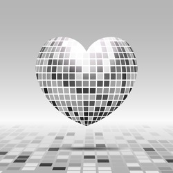 Heart symbol with texture disco ball in gray color isolated on perspective background