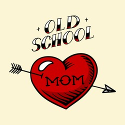 Heart tattoo mom in vintage style. Retro american old school sketch. Hand drawn engraved retro illustration for t-shirt and logo or badge.