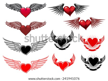 heart tattoos with wings in
