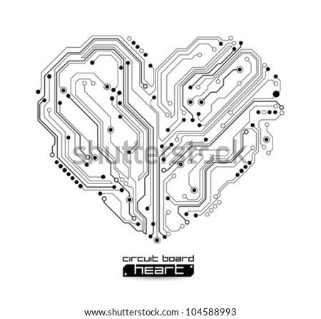heart technology vector background