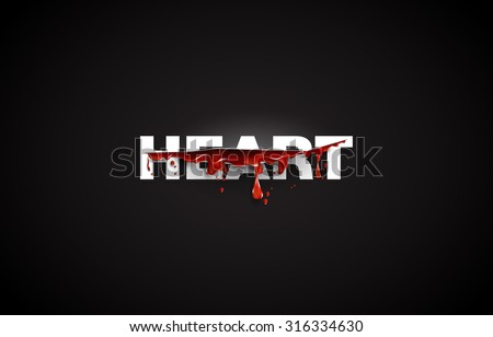 heart text cut with the blood