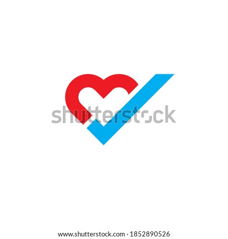 Heart tick icon flat design. Heart with checkmark symbol. New Red Heart and blue tick icon illustration on white background. Heart Check Logo Design Template