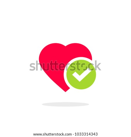 Heart tick icon vector illustration, flat cartoon healthy heart with checkmark symbol, idea of confirmed or approved good health
