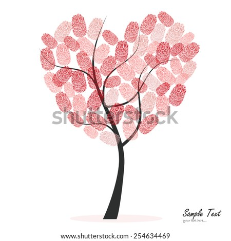 heart tree with finger prints