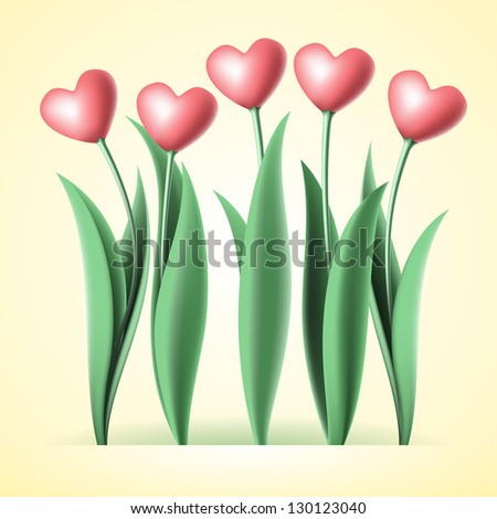 heart tulips - stock vector