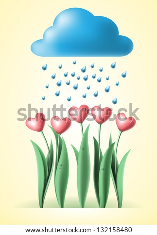 heart tulips with cloud and rain