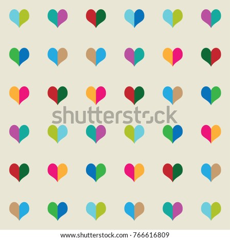heart two tone colorful pattern
