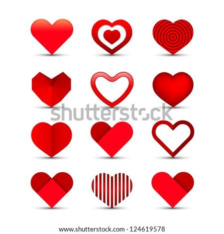 heart valentine icon set vector