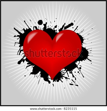 stock vector : Heart Valentine Wallpaper Grunge Valentine's day greeting
