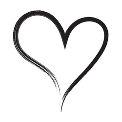 Heart vector. Hand drawn icon. Trendy black heart isolated on white background.Brush stroke grunge symbol useful for love sign, shape frame,greeting card and Valentine's day.Creative art sketch,vector