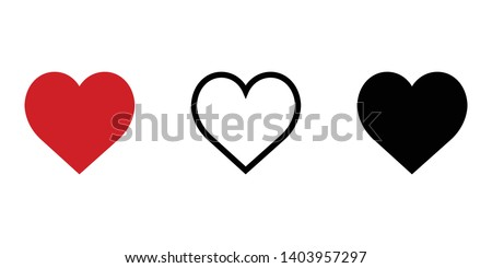 Heart vector icon isolated on white background. Set of modern love symbol