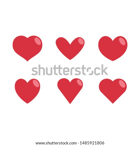 Heart vector icons, love symbol collection. Red Hearts silhouettes.