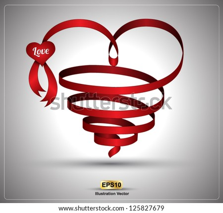 Heart vector ribbon twist for love wedding day valentine's day love festival love promotion