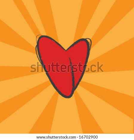 Heart vector with grunge pencil outline on bright orange background