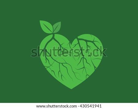 Heart, veins, leaves Vector Stock photo ©
