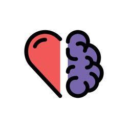 Heart vs brain color line icon. Abstract creative concept. Sign work as team. Conflict between emotions and rational thinking. Pictogram for web, mobile app. UI/UX design element. Editable stroke.