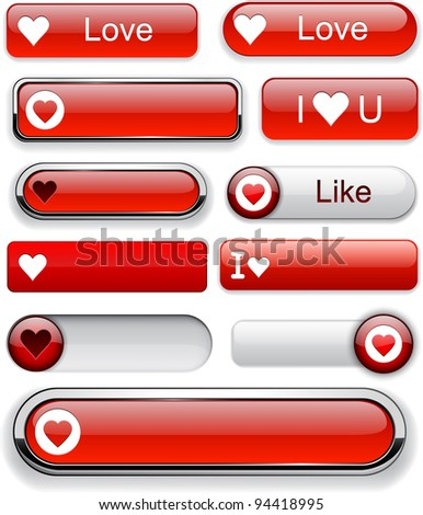 Heart web red buttons for website or app. Vector eps10.