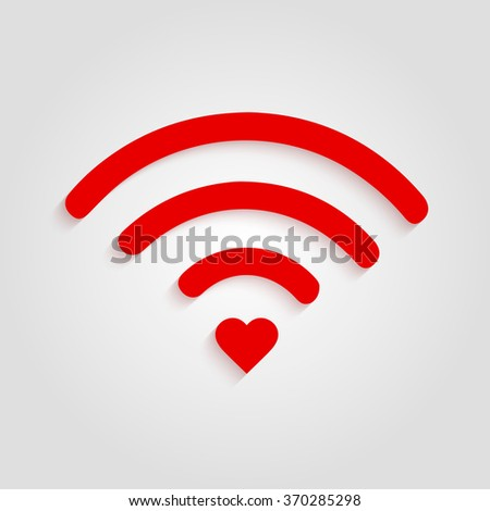 Heart wifi. Vector heart connect icon in flat style. Heart signal. Red wifi icon in flat style isolated on white background. Love connection. Wifi hotspot signal. Love signal. Wifi signal. Wifi sign
