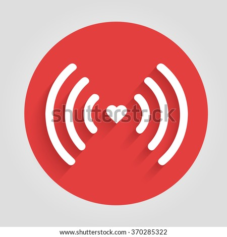 Heart wifi. Vector heart connect icon in flat style. Heart signal. White wifi icon in flat style isolated on white background. Love connection. Wifi hotspot signal. Love signal. Wifi signal. Wifi sign