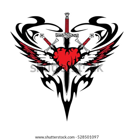 heart wing sword tattoo