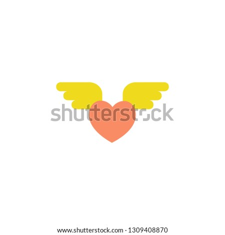 Heart wings icon. Element of Web Valentine day icon for mobile concept and web apps. Detailed Heart wings can be used for web and mobile