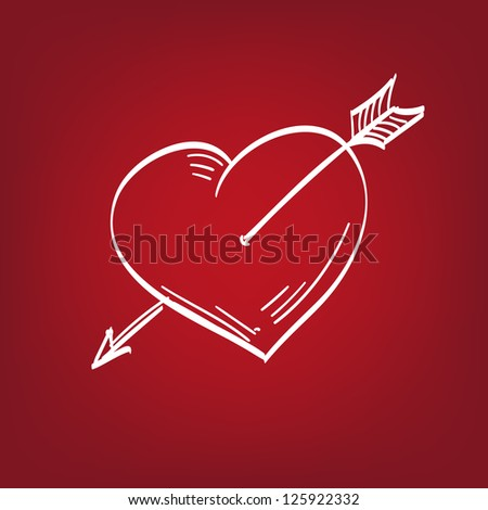 Heart with an arrow - hand drawn  vector illustration