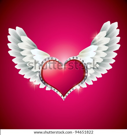 stock vector Heart with Angel Wings