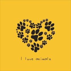 Heart with animal's footprints