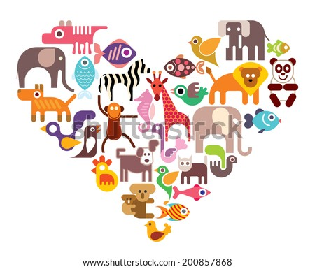 Heart with animal vector icons. Isolated color illustration on white background.