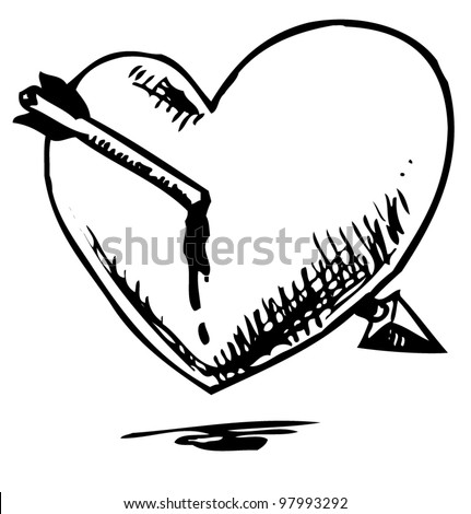 Heart With Arrow. Hand Drawing Sketch Vector Illustration Isolated On White Background ...