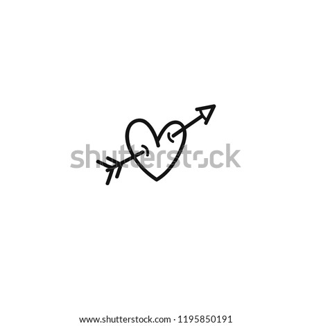 Heart with arrow hand-drawn icon. Valentines day line icon. Cupid dart pierced to the heart. Arrow of cupid. Love symbol with arrow. Vector illustration.