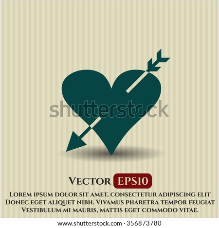 Heart with arrow icon or symbol