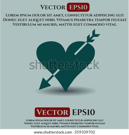 Heart with arrow icon vector illustration