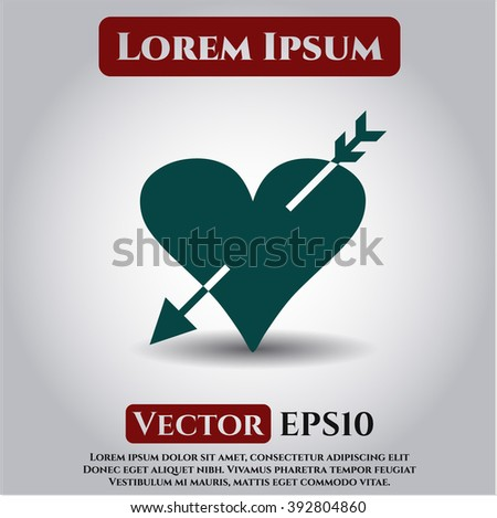 Heart with arrow icon vector illustration