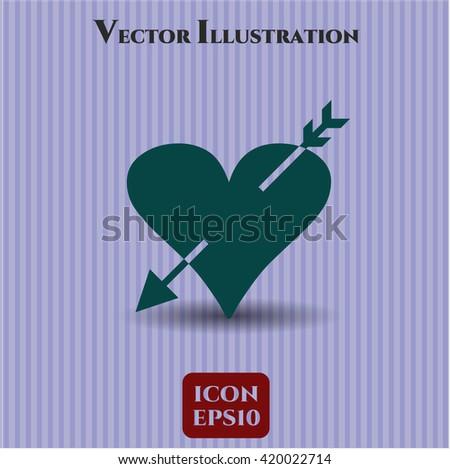 heart with arrow icon vector symbol flat eps jpg app