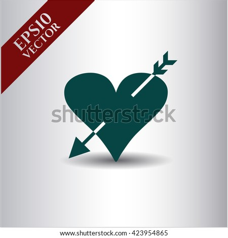 heart with arrow icon vector symbol flat eps jpg app