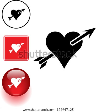 heart with arrow symbol sign and button