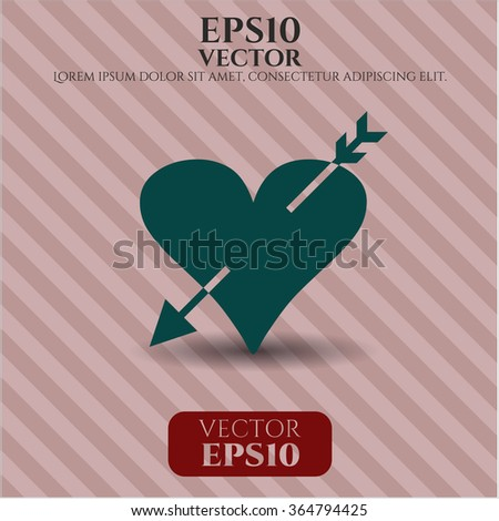Heart with arrow vector icon