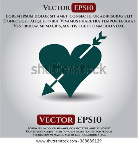 Heart with arrow vector icon