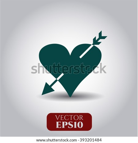Heart with arrow vector icon or symbol