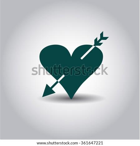 Heart with arrow vector symbol